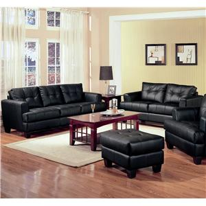 2 Piece Black Bonded Leather Loveseat and Sofa Group