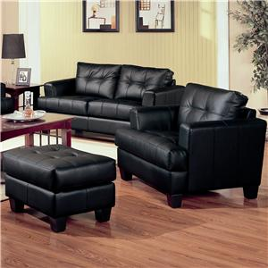 Contemporary Leather Chair and Tufted Leather Ottoman