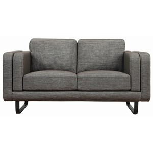 Contemporary Love Seat with Double Cushioned Shelter Arms