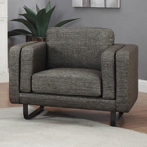 Contemporary Upholstered Chair with Double Cushioned Shelter Arms