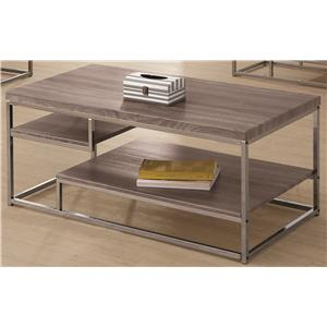 2 Shelf Coffee Table with Wood Top and Chrome Frame
