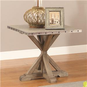 Rustic End Table w/ Nailhead Trim