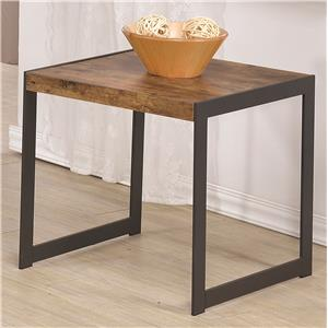 Rustic End Table w/ Metal Base