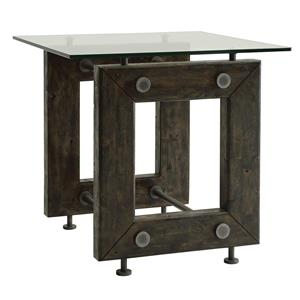 Industrial End Table with Tempered Glass Top