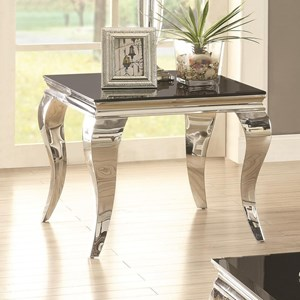 Glam End Table with Queen Anne Legs
