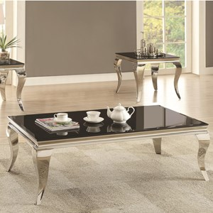 Glam Coffee Table with Queen Anne Legs