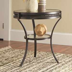Round Industrial End Table with Glass Top