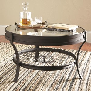 Round Coffee Table with Bike Spoke Bottom Shelf