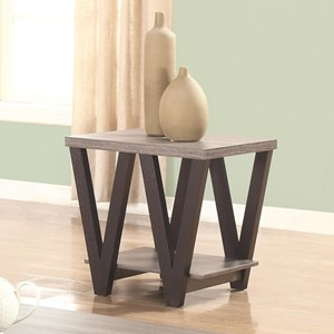 Two-Tone Angled Leg End Table