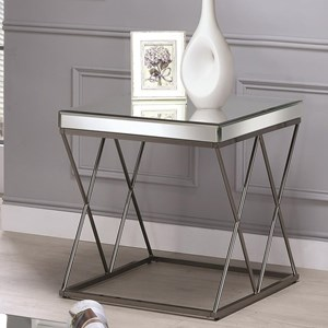 Contemporary Mirrored End Table with Metal Legs