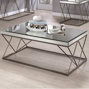 Contemporary Mirrored Coffee Table with Metal Legs