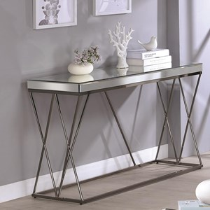 Contemporary Mirrored Sofa Table with Metal Legs
