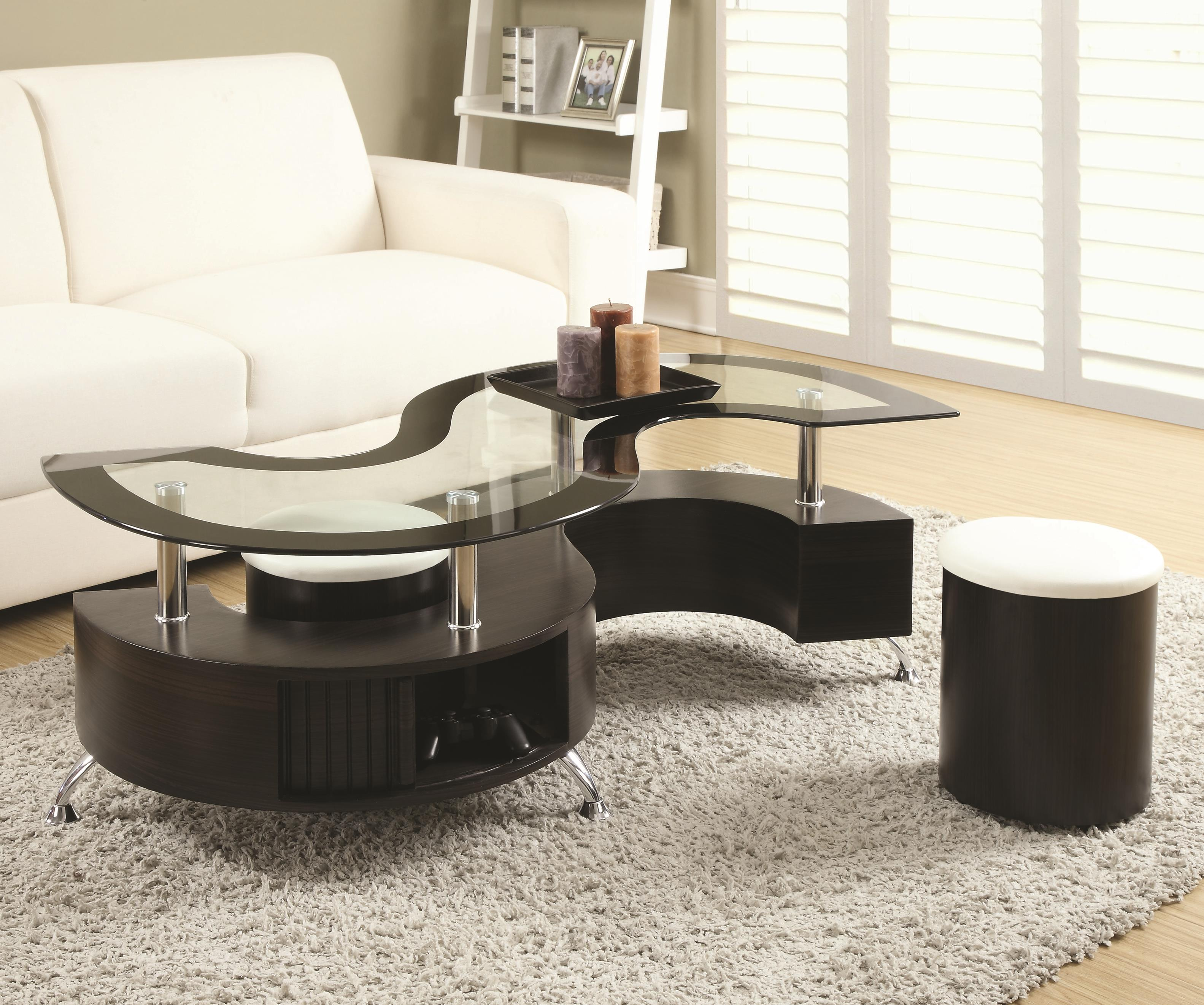 720218 Coffee Table and Stools by Coaster at Lapeer Furniture & Mattress Center