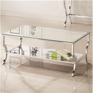 Metal Coffee Table with Glass Top and Mirrored Shelf