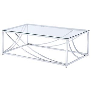 Modern Glass Top Cocktail Table