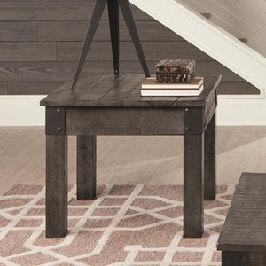 Rustic Grey Square End Table