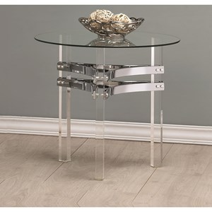 Contemporary Glass End Table with Chrome Base