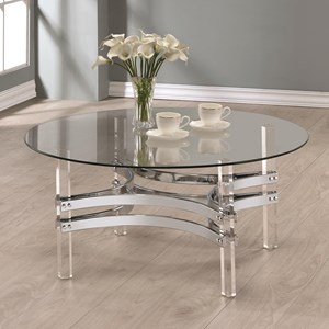 Contemporary Glass Coffee Table with Acrylic Base