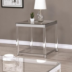 Contemporary Glass Top End Table with Acrylic Legs