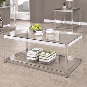 Contemporary Glass Top Coffee Table with Acrylic Legs