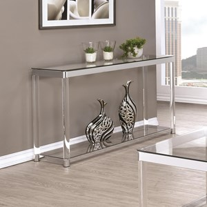 Contemporary Glass Top Sofa Table with Acrylic Legs