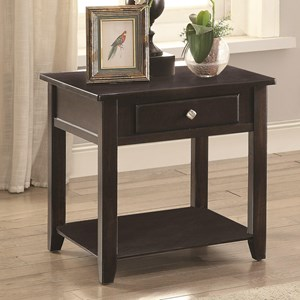 Square End Table with Drawer and Shelf