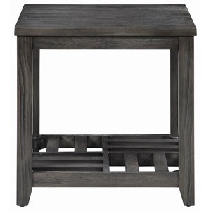 Gray Finish End Table with Slat Shelf
