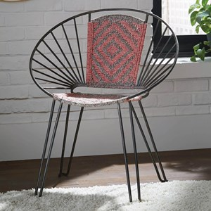Boho Iron Accent Chair with Hand-Woven Upholstery