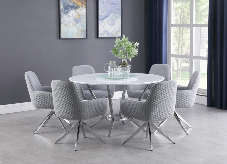Abby 5-Piece Round Dining Set by Coaster at Beck's Furniture