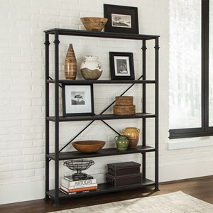 Industrial Double Bookcase with 4 Shelves