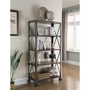 Industrial Bookcase with 4 Shelves and Casters