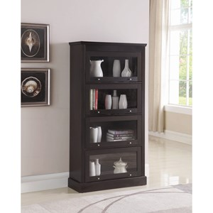 Transitional Bookcase with Tempered Glass Doors