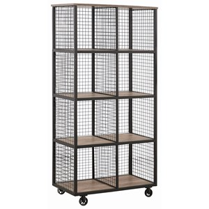 Industrial Steel Bookcase with Casters and Wood Shelves