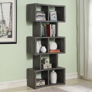 Contemporary Bookcase with Curved Design and 8 Shelves