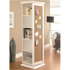 White Swivel Storage Cabinet with Cork Board