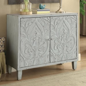 Accent Cabinet with Floral Door Design