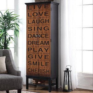 Tall Accent Cabinet with Positive Words