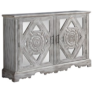 Distressed Grey Accent Cabinet with Ornate Doors