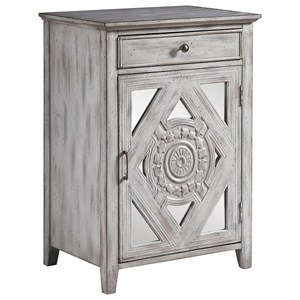 Distressed Grey Accent Cabinet with Ornate Door