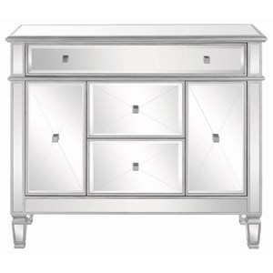 Contemporary Silver Accent Cabinet with Mirrored Front