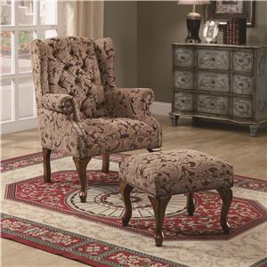 Traditional Tufted Wing Back Chair and Ottoman