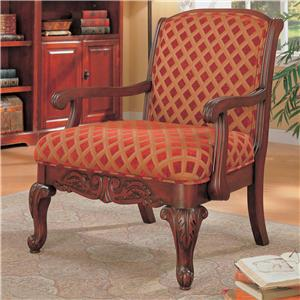 Upholstered Chair with Wood Armrests