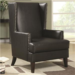Wing Back Accent Chair in Transitional Furniture Style with Nail Head Trim