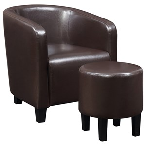 Brown Leatherette Accent Chair and Ottoman