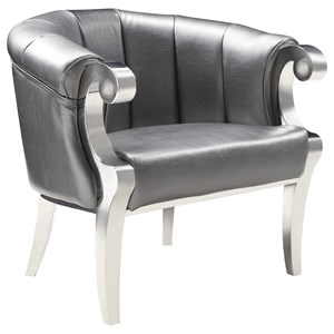 Glam Accent Chair with Scroll Armrests