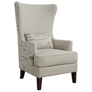 Winged Accent Chair with Script Back