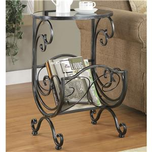 Metal & Glass Side Table with Scroll Magazine Rack