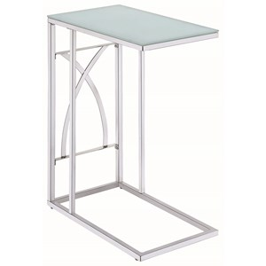Contemporary Snack Table with Glass Top