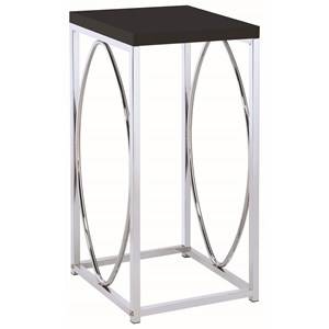 Contemporary Accent Table with Black Top