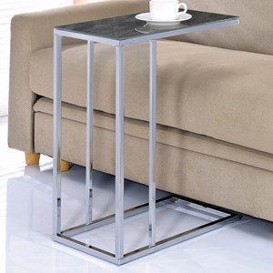 Accent Table in Chrome Finish with Black Faux Marble Top